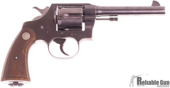 Picture of Used Colt New Service Revolver, 45 Colt, 5.5'' Barrel, Wood Grips, 1940 RCMP Delivery (w/Factory Letter) Good Condition