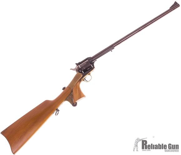 Picture of Used Iver Johnson Revolver, 44 Mag, 18'' Barrel, Single action, w/Rifle Butt Stock, Wood Grips, Made By Uberti, Good Condition