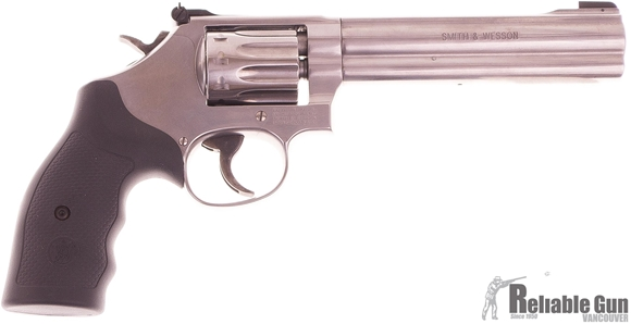 "Picture of Used Smith & Wesson (S&W) Model 617-6 Rimfire DA/SA Revolver - 22 LR, 6"", Satin Stainless Steel Frame & Cylinder, Black Rubber Grips, Original Box, Excellent Condition"