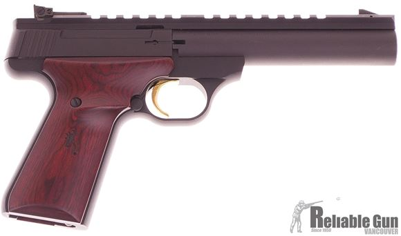 """Picture of Used Browning Buck Mark Field Target Rimfire Semi-Auto Pistol - 22 LR, 5-1/2"""", Matte Black, Steel, Aluminum Alloy Receiver, Laminate Cocobolo Target Grip, 10rds, Pro-Target Adjustable Sights, Full Length Picatinny Scope Raill"""