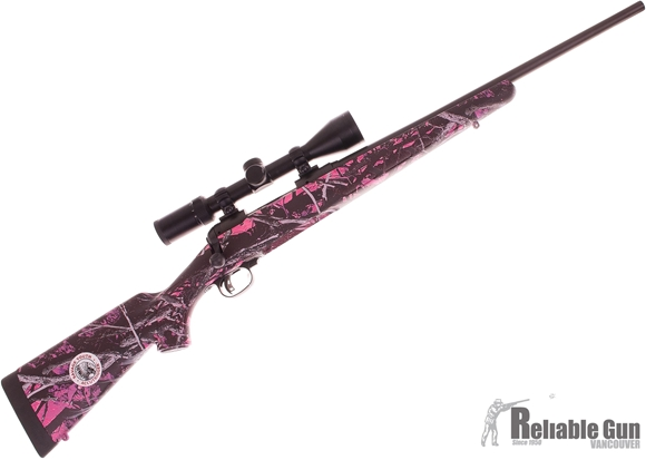 "Picture of Used Savage Arms Model 111 Trophy XP Muddy Girl Bolt Action Rifle - 243 Win, 20"", Matte Black, Carbon Steel, Muddy Girl Camo Synthetic Stock, 4rds, w/Weaver 3-9x40mm Riflescope, AccuTrigger, Salesman Sample, New in Box Condition"
