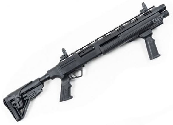 """Picture of Hunt Group MH12 Double Barrel Pump Action Shotgun - 12Ga, 3"""", 14"""", Black Receiver, Side & Top Rail Mount, M4 Stock, 2x5rds, Flip Up Sights, Two Sets of Mobil Chokes (F,IM, M, IC, SK), Hard Case"""