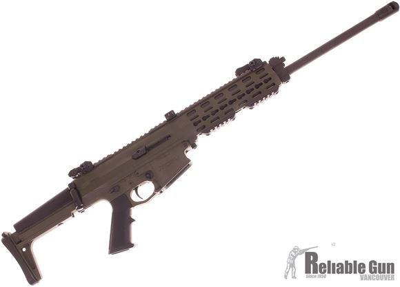 """Picture of Used Robinson Arms XCR-L Semi-Auto 5.56, 18.6"""" Barrel, Keymod Handguard, Includes 6.8 SPC Caliber Conversion, One Mag Each Caliber, With AR Stock Adapter & Fab Defense Stock, Green, Very Good Condition"""