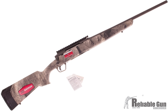 "Picture of Used Savage Arms Axis II Overwatch, 243 Win, 20"" PVD Coated Stainless Steel Barrel, Gun Smoke Grey Finish, Overwatch Camo Synthetic Sporter Stock, EGW One-piece Picatinny Rail, Adjustable Accutrigger, 4rds, Salesman Sample, New In Box Condition"