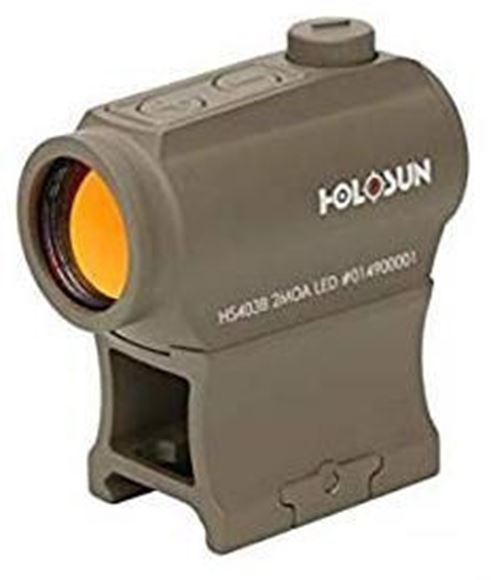 Picture of Holosun Reflex Sights - HS403B Micro Reflex Sight, FDE, 2 MOA Red Dot, 10 Daylight & 2 NV Settings, Multi-Layer Coating, Waterproof IP67, w/Lower 1/3 AR Height Mount & Low Base, CR2032, 50,000 hrs