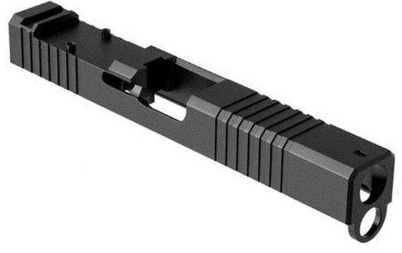 Picture of Brownells Pistol Parts - Glock 17 Gen 4 RMR Stripped Slide, 9 mm, Stainless w/Nitride Finish, Front & Rear Serrations, Black, w/ Window