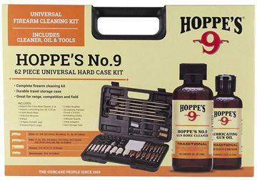 Picture of Hoppe's No. 9, 62 Piece Universal Cleaning Kit - All Calibers, 14 Bronze Brushes, 6 Solid Brass Rods, 13 Spear Jags, Muzzle Guard, Patch Loops, No.9 Gun Bore Cleaner 2oz & Gun Oil 2.25oz, 3 Utility Brushes, Hard Case