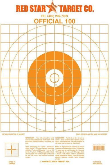 Picture of Red Star Target - Official 100, Orange, 250-Pack