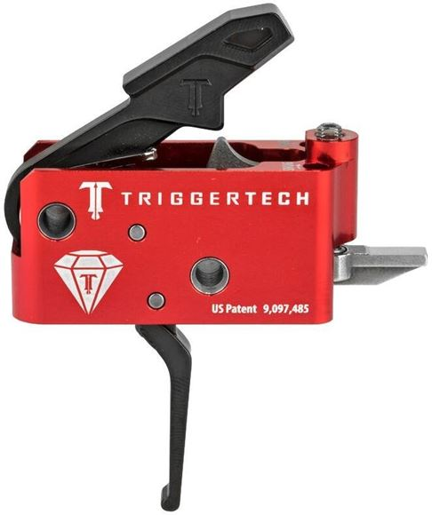 Picture of Trigger Tech, AR15 Trigger - Black Diamond Frictionless Trigger, Flat, Short Two Stage, 1.5-4lbs, Small Pin, PVD Black, Red Housing