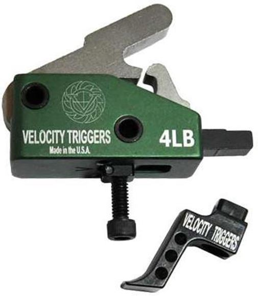 Picture of Velocity Triggers - Drop In AR-15 MPC Trigger, Straight Trigger With Finger Stop, Curved Radius, Single Stage, 4lb