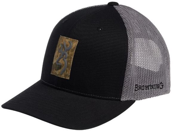 Picture of Browning Hats - Black & Grey Mesh, Camo Patch Browning Logo, Snap Back