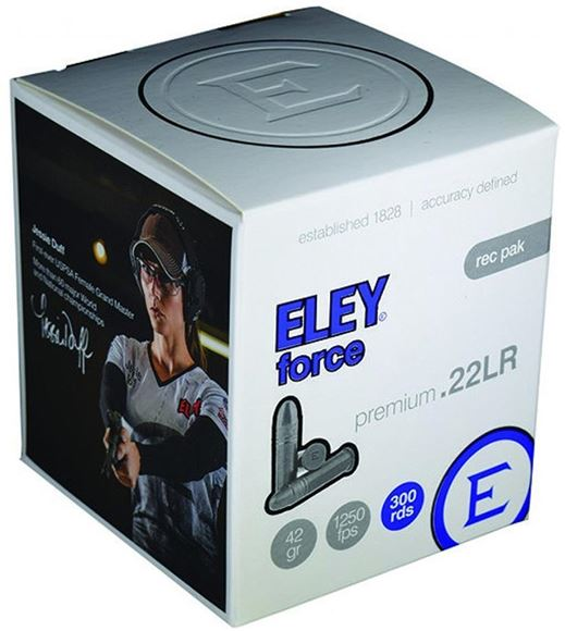 Picture of ELEY Rimfire Ammo - Force, 22 LR, 42Gr, 1250 Fps, Lead Round Nose, 3000rds Case