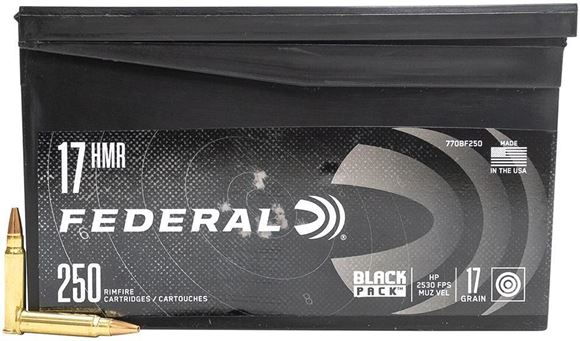 Picture of Federal Black Pack Rimfire Ammo - 17 HMR, 17Gr, HP, 250rds Plastic Mini Ammo Can