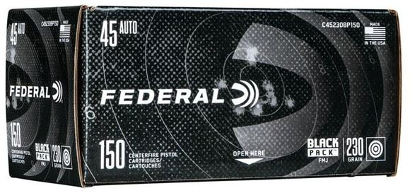 Picture of Federal Black Pack Handgun Ammo - 45 Auto (ACP), 230Gr, Full Metal Jacket, 600rds Case