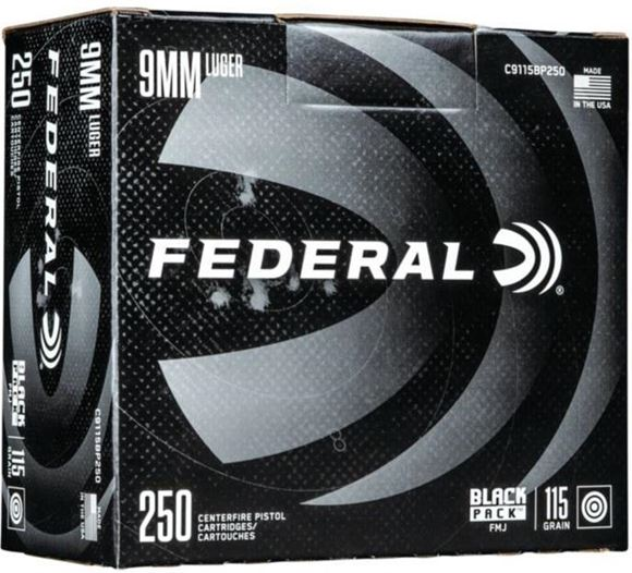 Picture of Federal Black Pack Handgun Ammo - 9mm Luger (9x19mm Parabellum), 115Gr, Full Metal Jacket, 250rds Brick, 1180fps