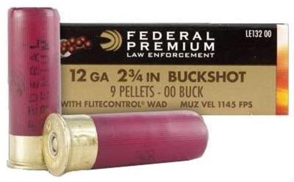 Picture of Federal Law Enforcement Shotgun Ammo - 12Ga, 2-3/4'', Low Recoil, 00 Buck, 9 Pellets, 1140fps, 5rds Box