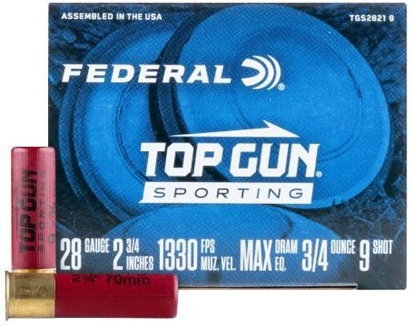 Picture of Federal Top Gun Sporting Clay Shotgun Ammo - 28ga, 2-3/4, Max DE, 3/4 oz., #9, 25rds Box