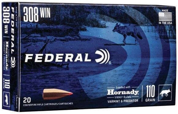 Picture of Federal V-Max Rifle Ammo - 308, 110gr, Loaded w/ Hornady V-Max Bullets, 3300fps, 20rds Box