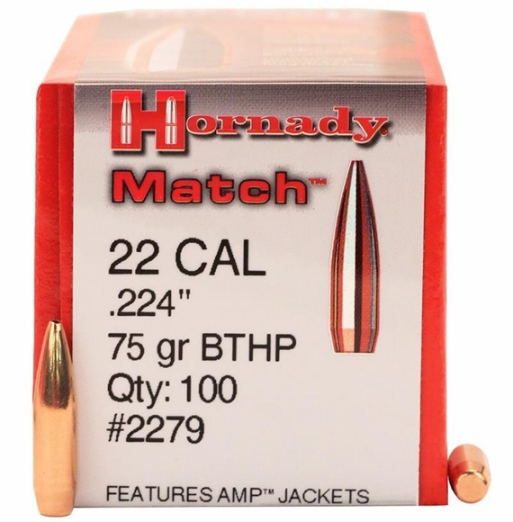 """Picture of Hornady Rifle Bullets, HP/BTHP Match - 22 Caliber (.224""""), 75Gr, BTHP, 100ct Box"""