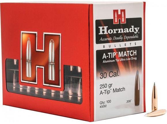 """Picture of Hornady Rifle Bullets, A-Tip Match - 30 Caliber (.308""""), 250Gr, A-Tip Match, Min Twist 1-8.5"""", 100ct Box"""