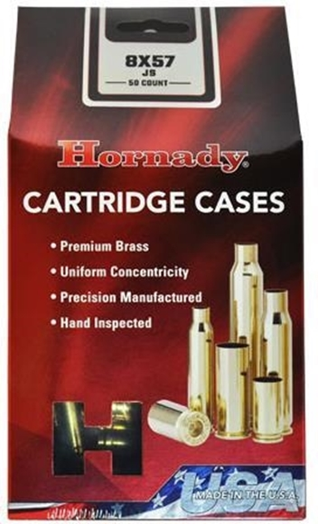 Picture of Hornady Cartridge Cases - 8x57 JS Unprimed, Brass, 50 pc