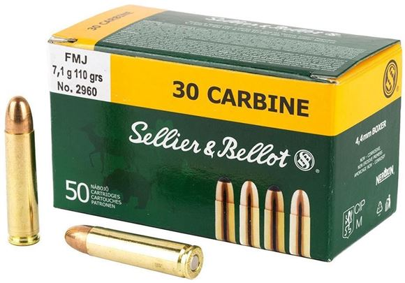 Picture of Sellier & Bellot Rifle Ammo - 30 Carbine, 110Gr, FMJ, 50rds Box