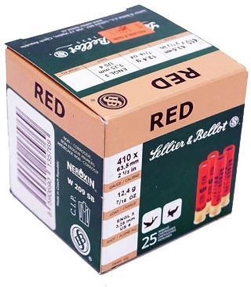 "Picture of Sellier & Bellot Hunting Shotgun Shells - Red, .410, 2-1/2"", 7/16oz, #6, Lead, 25rds Box"