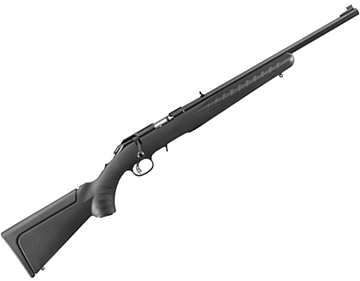 "Picture of Ruger American Rimfire Compact Bolt Action Rifle - 22 LR, 18"", Satin Blued, Alloy Steel, Black Synthetic Stock, 10rds, Fiber Optic Front & Adjustable Rear Sights"