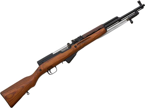 "Picture of Simonov Surplus SKS Semi-Auto Rifle - 7.62x39mm, 20"", Blued, Laminated Stock, 5rds, Post Front & Adjustable Rear Sights, Folding Bayonet, Refurbished"