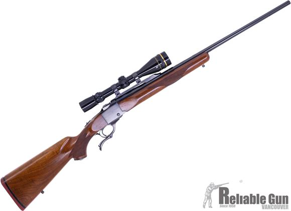 Picture of Used Ruger No.1 Single Shot Falling Block Rifle, 280 Rem, 26'' Barrel, Wood Stock, Leupold Vari X III 3.5-10x40 AO Gloss Scope, DL Number Engraved On Bottom Of  Receiver, Good Condition