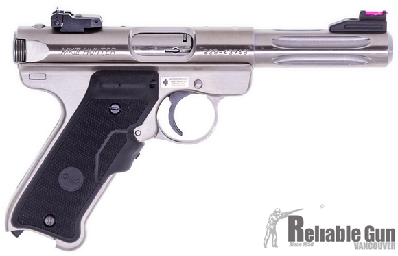 """Picture of Used Ruger Mark III Hunter Stainless Fluted Rimfire Semi-Auto Pistol - 22 LR, 4.25"""" Fluted Bull Barrel, Stainless Steel, Crimson Trace Laser Grips, 2 Magazines, Fiber Optic Front & Adjustable Rear Sights, Original Box, Very Good Condition"""