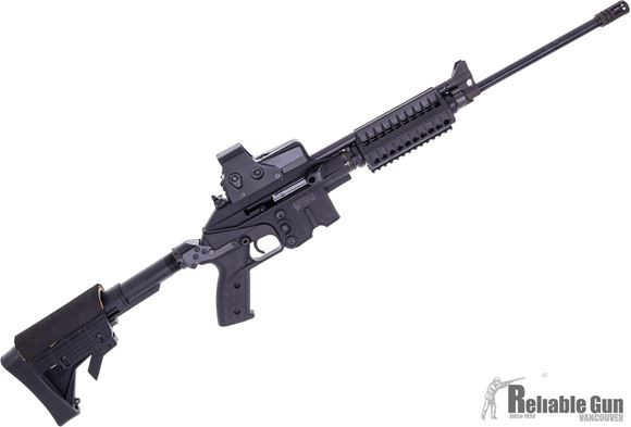 """Picture of Used Kel-Tec SU-16F Semi-Auto Rifle - 223 Rem, 18.5"""", Blued, Black Collapsable Stock, Compact Forend, Trace Optic Red Dot, 3 Magazine, Digital Camo Soft Case, Very Good Condition"""