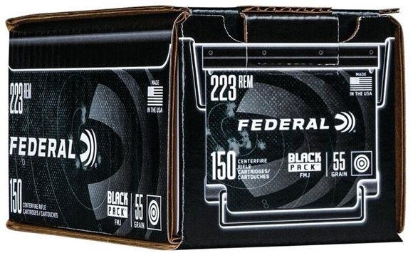 Picture of Federal Black Pack Rifle Ammo - 223 Rem, 55Gr, Full Metal Jacket, 600rds Case