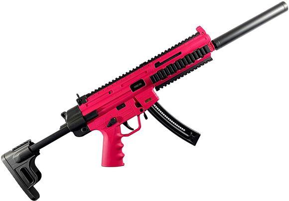 "Picture of German Sport Guns (GSG) GSG-16 Rimfire Semi-Auto Rifle - 22 LR, 16.5"", Blued, High Precision Barrel, 6 Grooves, Retractable Stockl, Pink Color"