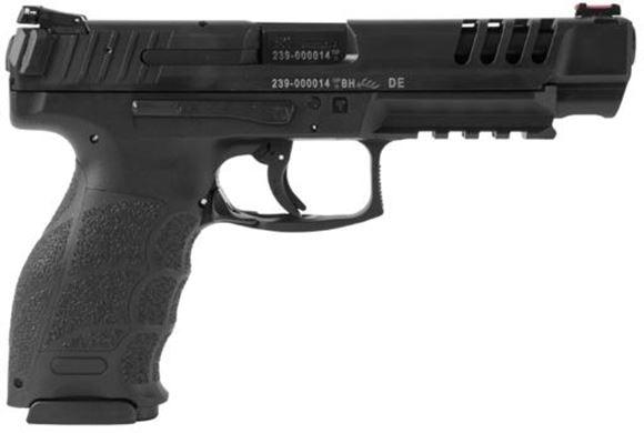 "Picture of Heckler & Koch (H&K) SFP9L-SF Striker Fired Single Action Semi-Auto Pistol - 9mm, 5"", Polygonal Profile, Blued, Fiber-Reinforced Polymer Grip Frame, Adjustable Rear Sight & Fiber Optic Front (Red), Lower Rail, Ported Slide, 2x10rds"