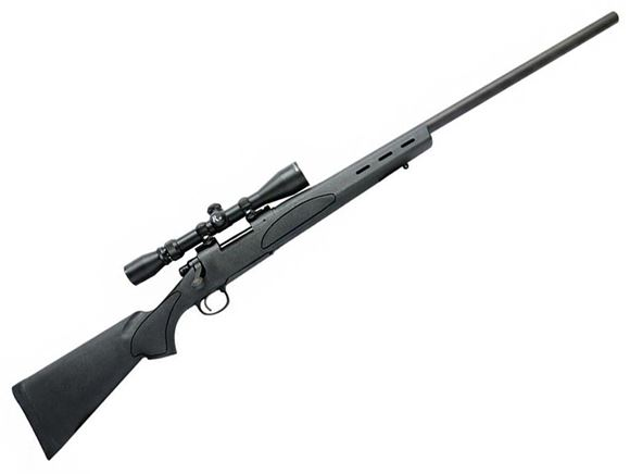 "Picture of Remington 700 SPS Varmint Bolt Action Rifle - 22-250 Rem, 26"", Matte Blued, 4rds, SPS Varmint Synthetic Stock, w/ Factory Mounted & Bore Sighted 4-12x40 Scope w/ Hard Case"