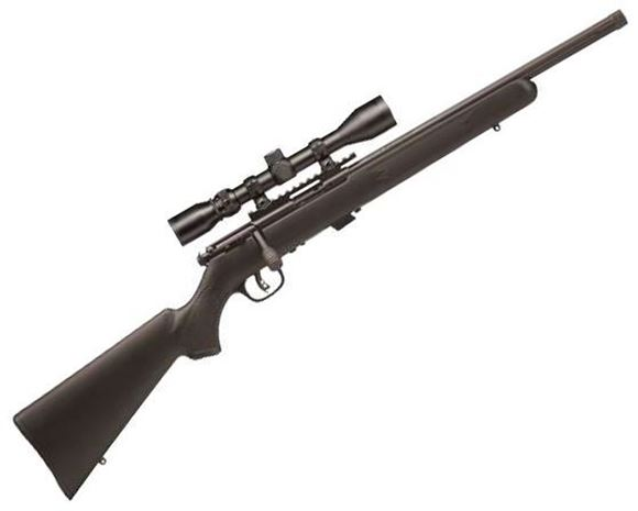"""Picture of Savage Arms 17 Series, 93R17 FV-SR XP Rimfire Bolt Action Rifle - 17 HMR, 16.5"""", Matte Black Threaded, Carbon Steel, Matte Black Synthetic Stock, 5rds, Bushnell 3-9x40 Scope, AccuTrigger"""
