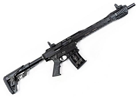 """Picture of Typhoon Defence F12 MAXI Vertical Magazine Semi-Auto Shotgun - 12Ga, 3"""", 18.5"""", Black, Cerakote Finish,1x2rds & 2x5rds, Canted Iron Sights, Adjustable Stock, 5 Chokes, Sling, Magwell Flange"""
