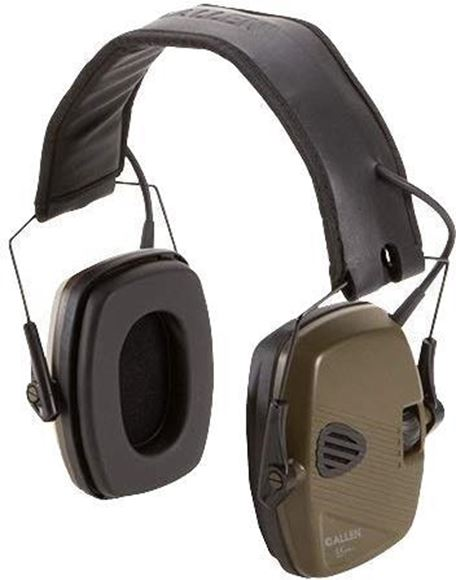 Picture of Allen Safety, Ear Protection - Shotwave Low Profile Shooting Muff, NRR 23dB, OD, Takes x2 AAA, Built-in Directional Mic, Auto-Shut-off, Compact Folding Design