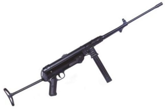 """Picture of German Sport Guns (GSG) MP-40 Semi-Auto Rifle - 9mm, 19"""", Blued, Folding Metal Stock, 1x5rds, Fixed Front Post & Adjustable Rear Sights, Non Restricted"""