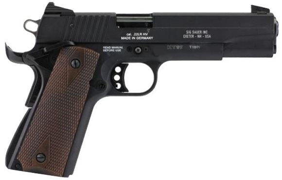 "Picture of SIG SAUER 1911-22 Single Action Rimfire Semi-Auto Pistol - 22 LR, 5"", Black, Diamond Checkered Wood Grips, Contrast Sight, 2x10rds2"