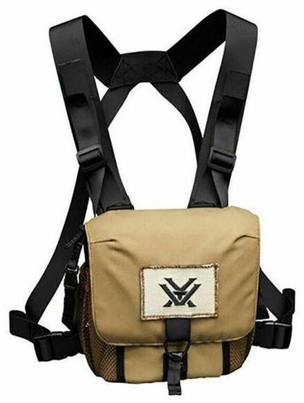 Picture of Vortex Optics Accessories - Glasspack Binocular Harness, Tan Color, Adjustable Straps, QD Tether Straps, Mesh Side & Zippered Back Pocket