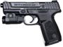"Picture of Smith & Wesson (S&W) Model S&W SD9 w/ Flashlight Strike Fired Action Semi-Auto Pistol - 9mm, 4-1/4"", Black, Polymer Frame, Textured Polymer Grip, 2x10rds, White Dot Front & Fixed 2-Dot Rear Sights, Crimson Trace Rail Light"