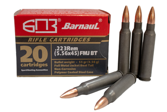 Picture of BarnauL Rifle Ammo - 223 Rem (5.56x45), 55Gr, FMJ BT, Polycoated  Steel Case, Non-Corrosive, 500rds Case