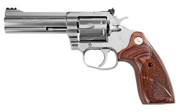 "Picture of Colt King Cobra DA Revolver - 357 Mag, 4.25"" Barrel, Stainless Steel, Brown Laminate Grip, Fiber Optic Front Sight, Adjustable Rear Sight, 6rds"