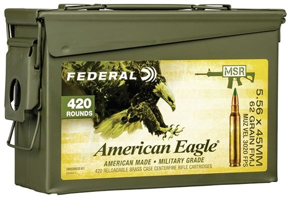 Picture of Federal  American Eagle XM855 Rifle Ammo - 5.56 x 45mm, 62gr, FMJ, 3020fps, Military Grade, 420rds Army Can