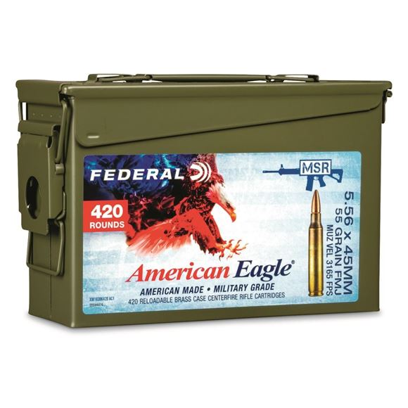 Picture of Federal Rifle Ammo - 5.56 x 45mm NATO, 55Gr, FMJ, Metal Case Boat-Tail (M193 Ball), 420rds, Army Can