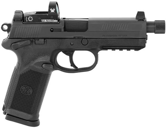 "Picture of FN Herstal (FNH) FNX-45 Tactical Venom DA/SA Semi-Auto Pistol - 45 ACP, w/Vortex Venom 6MOA, 5.3"", w/.578x28 RH Thread & Thread Protector, Cold Hammer-Forged Stainless Steel, Black Steel Slide, Black Polymer Frame, 2x10rds, Fixed 3-Dot Night Sights"