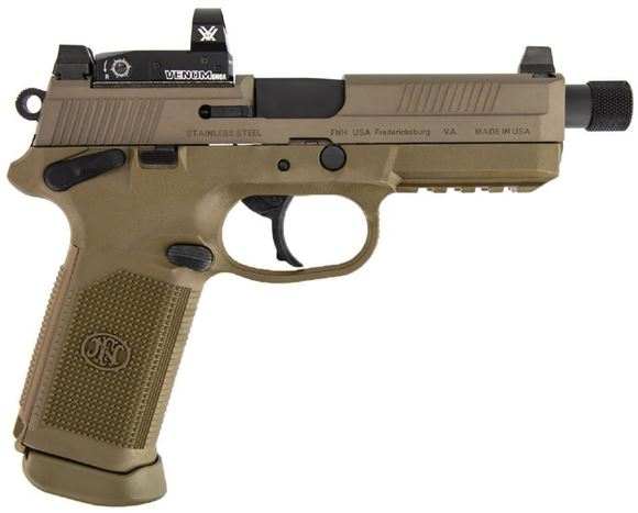 "Picture of FN Herstal (FNH) FNX-45 Tactical Venom FDE DA/SA Semi-Auto Pistol - 45 ACP, w/Vortex Venom 6MOA, 5.3"", w/.578x28 RH Thread & Thread Protector, Cold Hammer-Forged Stainless Steel, FDE Steel Slide, FDE Polymer Frame, 2x10rds, Fixed 3-Dot Night Sights"