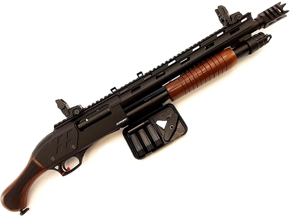 "Picture of Lazer Arms Guardian TW Pump Action Shotgun - 12Ga, 3"", 14"", Black Receiver, Heat Shield, Top Rail, Side Shell Holder, Wood Birdshead Stock, 4+1rds, Flip Up Sights, Muzzle Brake, Chokes (F,IM, M, IC, SK)"